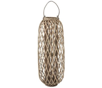 J-Line  Lantern Cylinder Woven Willow Wood Gray - Large