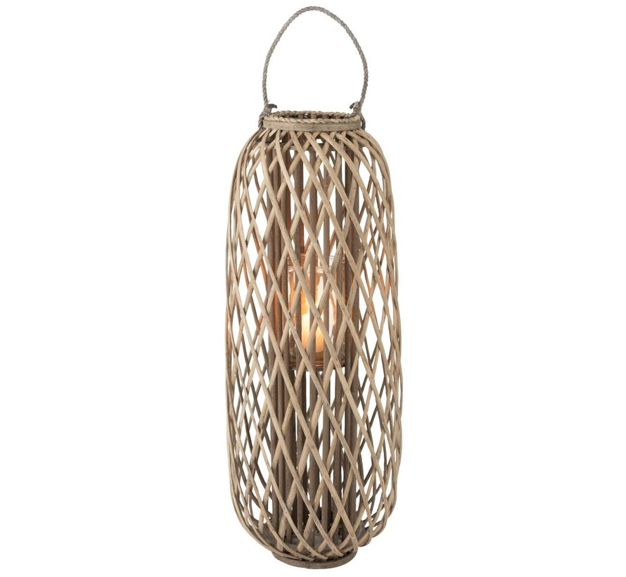 Lantaarn Cilinder Geweven Willow Hout Grijs - Large