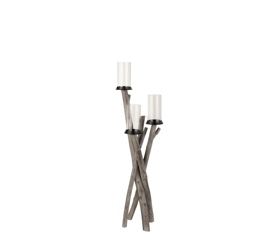 Tealight Holder Wood Branches Three Glasses - Gray