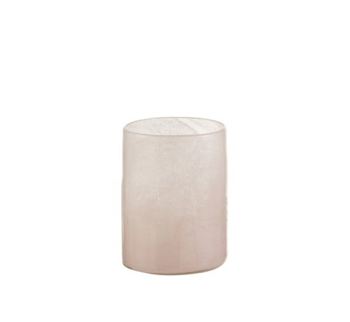 J -Line Tealight holder Glass Modern Pink White - Medium