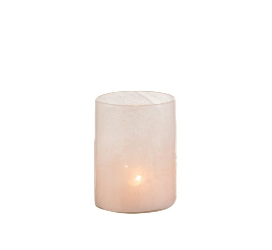 Tealight holder Glass Modern Pink White - Medium