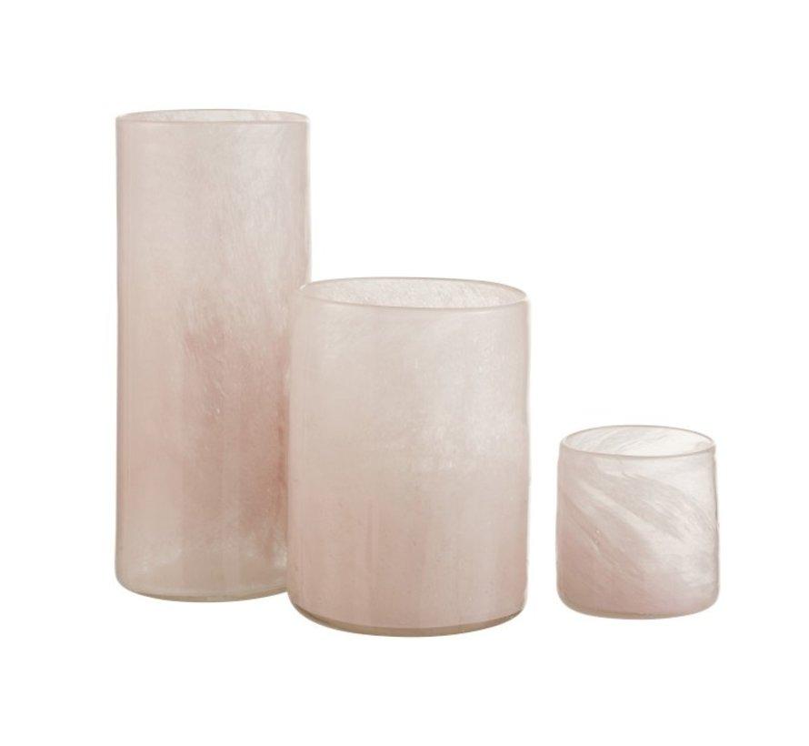 Theelichthouder Glas Modern Roze Wit  - Large