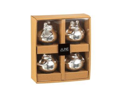 J -Line Decoratie Drijvende Kikkers Glas Zilver - Small