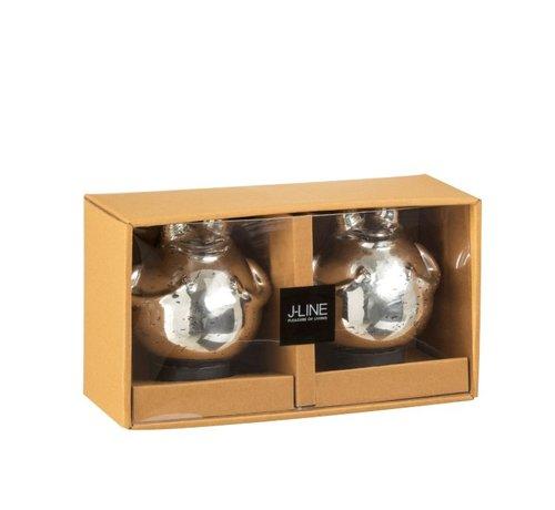J -Line Decoratie Drijvende Kikkers Glas Zilver - Medium