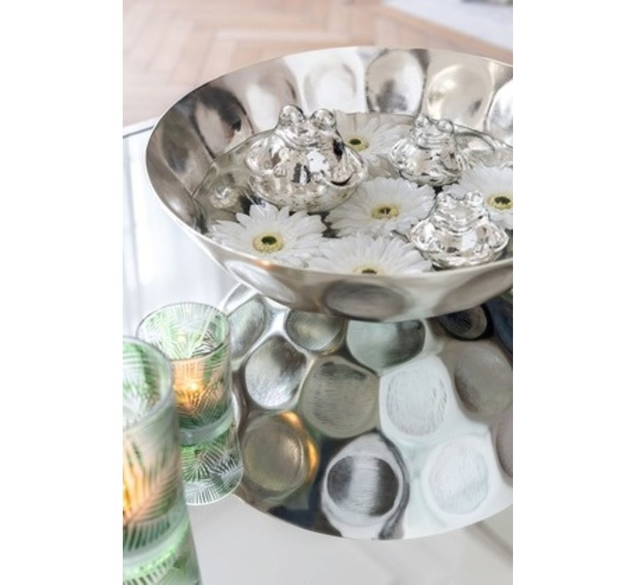 Decoratie Drijvende Kikkers Glas Zilver - Large