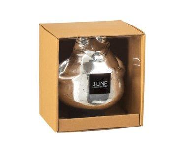 J-Line Decoratie Drijvende Kikkers Glas Zilver - Large