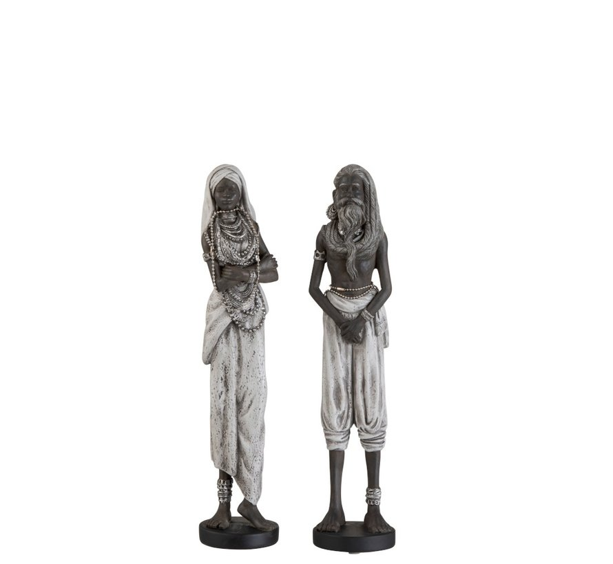 Decoration Figure Couple Ethnic Black Gray - Small