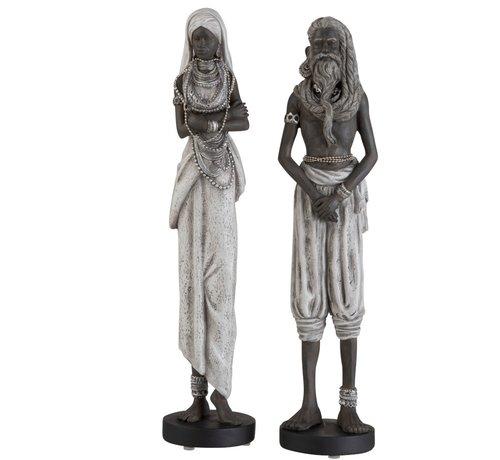 J -Line Decoration Figure Couple Ethnic Black Gray - Large