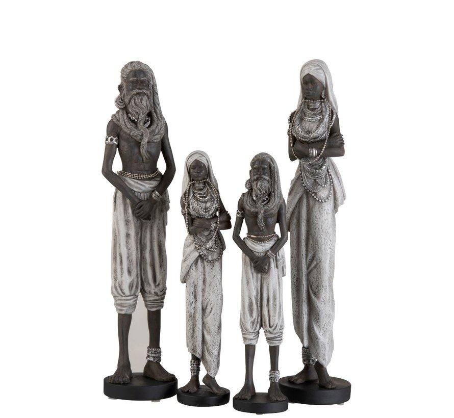 Decoratie Figuur Koppel Etnisch Zwart Grijs - Large