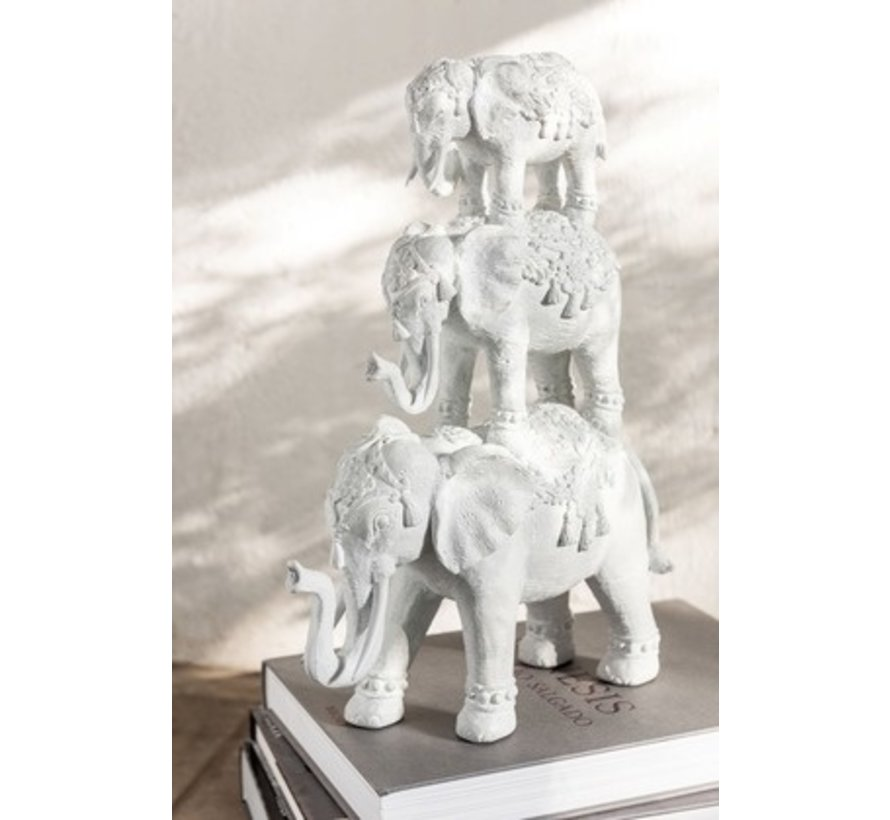 Decoration Oriental Elephants Large To Small - White