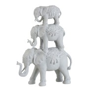 J -Line Decoration Oriental Elephants Large To Small - White