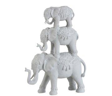 J-Line  Decoration Oriental Elephants Large To Small - White