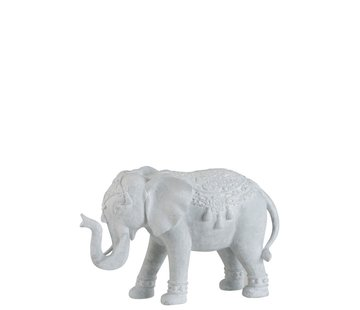 J -Line Decoratie Figuur Oosters Olifant Wit - Large