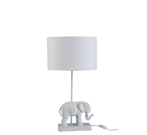 J -Line Tafellamp Oosters Olifant  Met Lampenkap - Wit