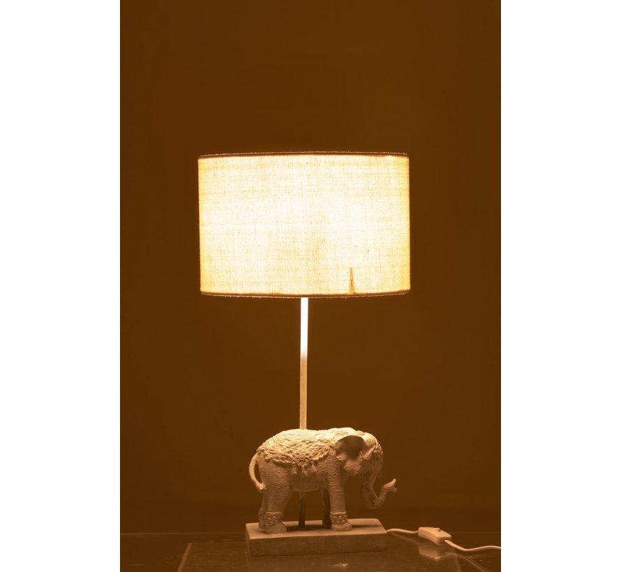 Tafellamp Oosters Olifant  Met Lampenkap - Wit