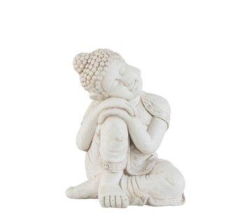 J -Line Decoratie Figuur Boeddha Relax Magnesium Wit - Large