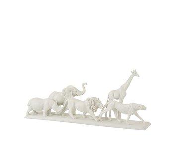 J-Line Decoration Figure Safari Animals On Foot Poly White - Small