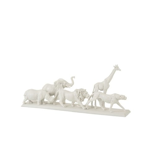 J -Line Decoration Figure Safari Animals On Foot Poly White - Small