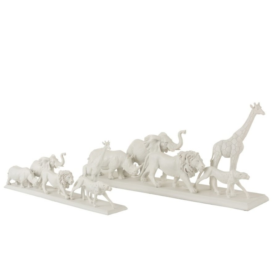 Decoration Figure Safari Animals On Foot Poly White - Small