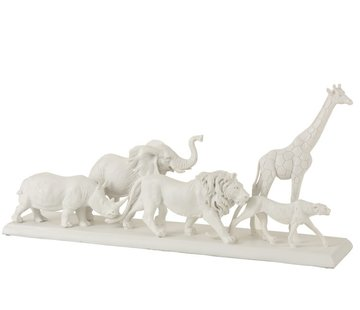 J -Line Decoration Figure Safari Animals On Foot Poly White - Large