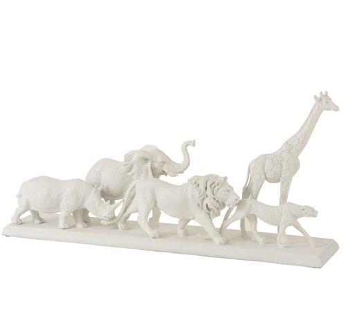 J-Line Decoration Figure Safari Animals On Foot Poly White - Large