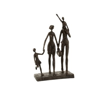 J -Line Decoration Figure Family On Step Poly - Dark Brown