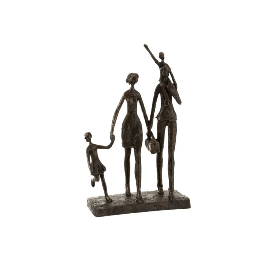 Decoration Figure Family On Step Poly - Dark Brown