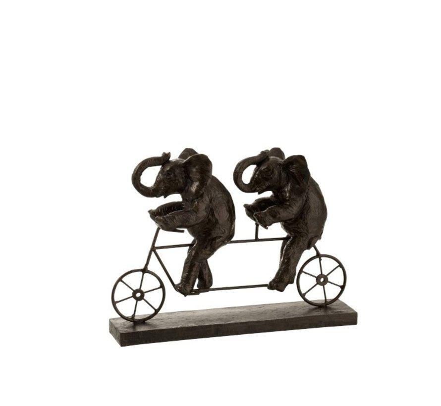 Decoration Figure Elephants On Tandem Poly - Dark Brown