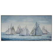 J -Line Canvas Painting Wood Sailboats At Sea Blue - White