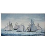 J-Line Canvas Schilderij Hout Zeilboten Op Zee Blauw - Wit