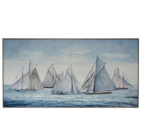J -Line Canvas Schilderij Hout Zeilboten Op Zee Blauw - Wit