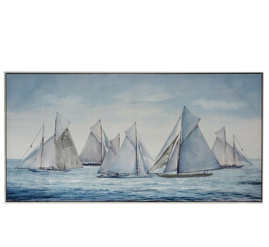 Canvas Painting Wood Sailboats At Sea Blue - White