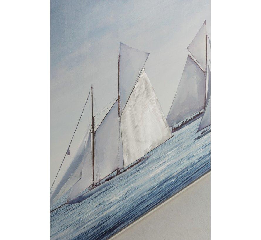 Canvas Schilderij Hout Zeilboten Op Zee Blauw - Wit