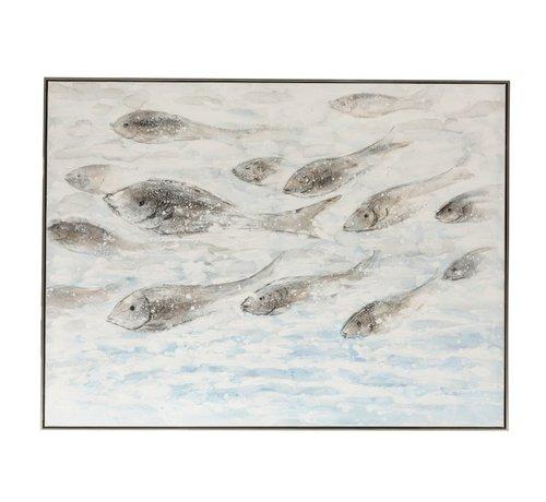J -Line Canvas Schilderij Hout Zwemmende Vissen Blauw - Grijs