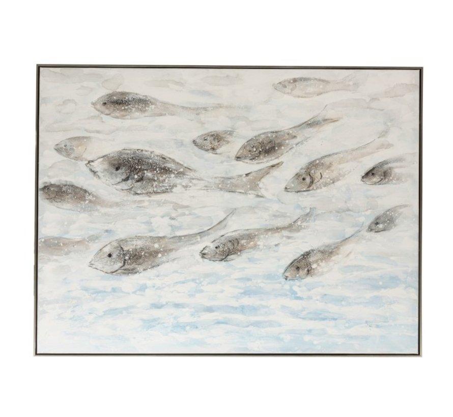 Canvas Schilderij Hout Zwemmende Vissen Blauw - Grijs