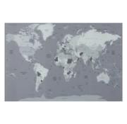 J -Line Wanddecoratie Wereldkaart Glas Tinten - Grijs