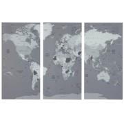 J-Line Wall decoration World Map Three Parts Glass - Gray