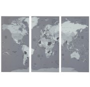 J -Line Wall decoration World Map Three Parts Glass - Gray