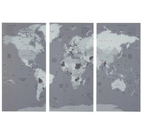 J -Line Wanddecoratie Wereldkaart Drie Delen Glas - Grijs