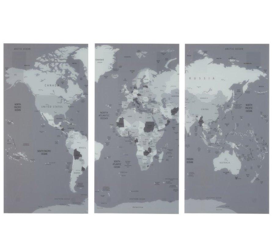 Wanddecoratie Wereldkaart Drie Delen Glas - Grijs