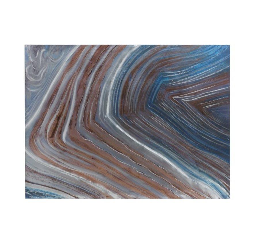 Wanddecoratie Schilderij Golven Blauw Grijs - Bruin