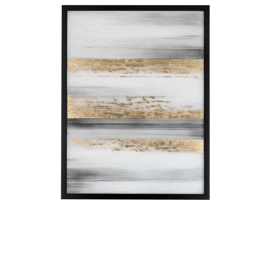 Wall decoration Painting Soft Lines Black White - Gold