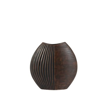 J -Line Vase Ethnic Wide Lines Poly Dark Brown - Small