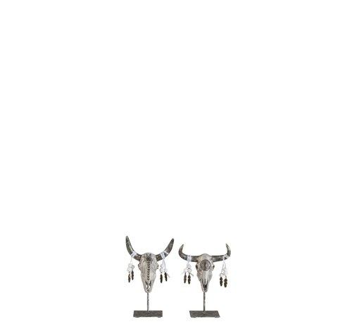 J -Line Decoratie Schedels Op Voet Grijs Zilver - Small