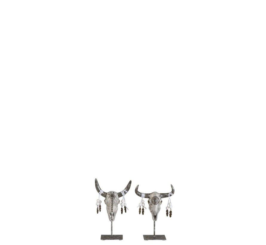 Decoratie Schedels Op Voet Grijs Zilver - Small