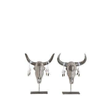 J -Line Decoration Skulls On Foot Gray Silver - Large