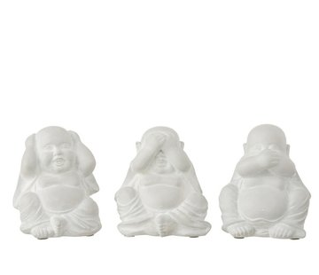 J -Line Decoration Buddhas Hear See Silence - White