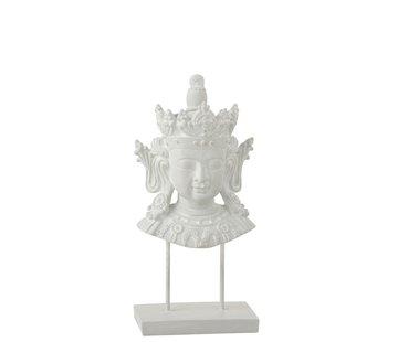 J -Line Decoratie Boeddha Hoofd Op Voet Poly - Wit