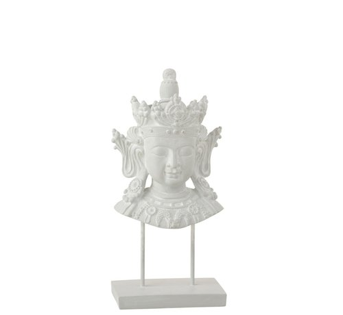 J -Line Decoration Buddha Head On Foot Poly - White