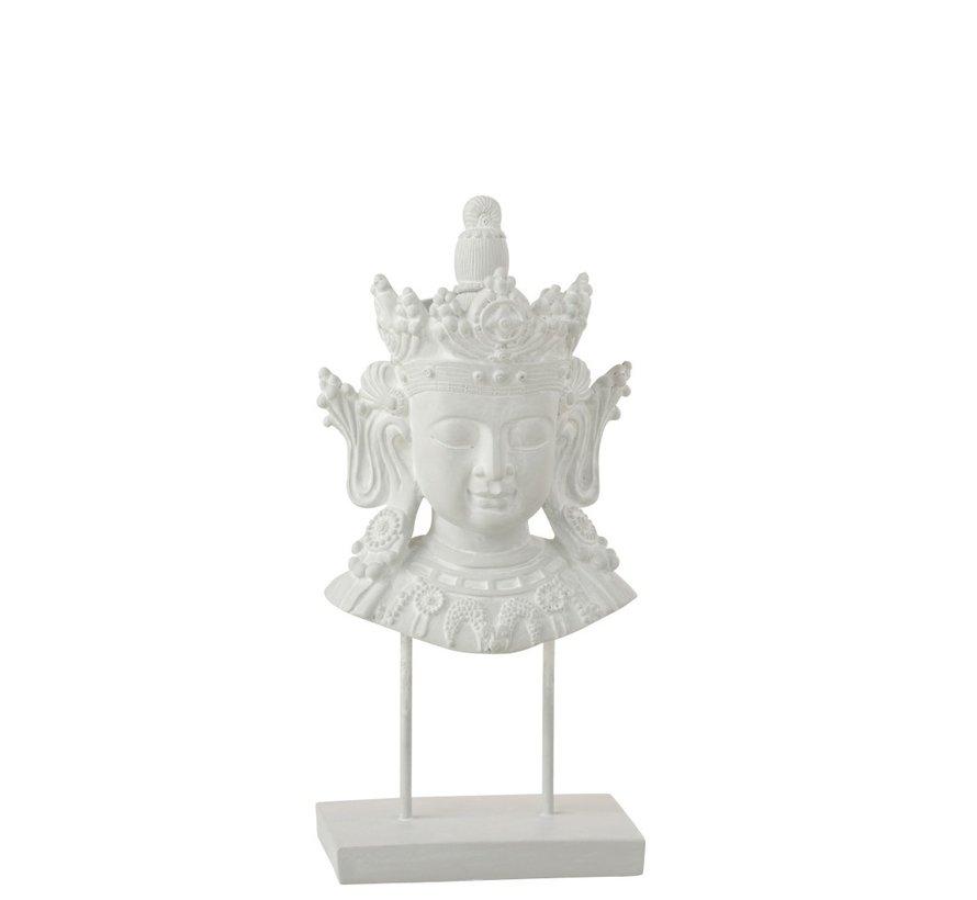 Decoratie Boeddha Hoofd Op Voet Poly - Wit